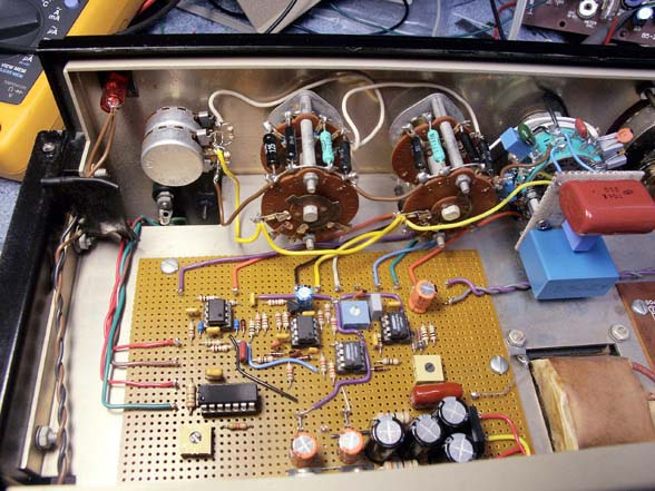 Oscillator board installed. New range switch with cap board mounted.
