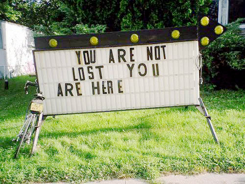 Humorous error 404 pic: You are not lost; you are here.